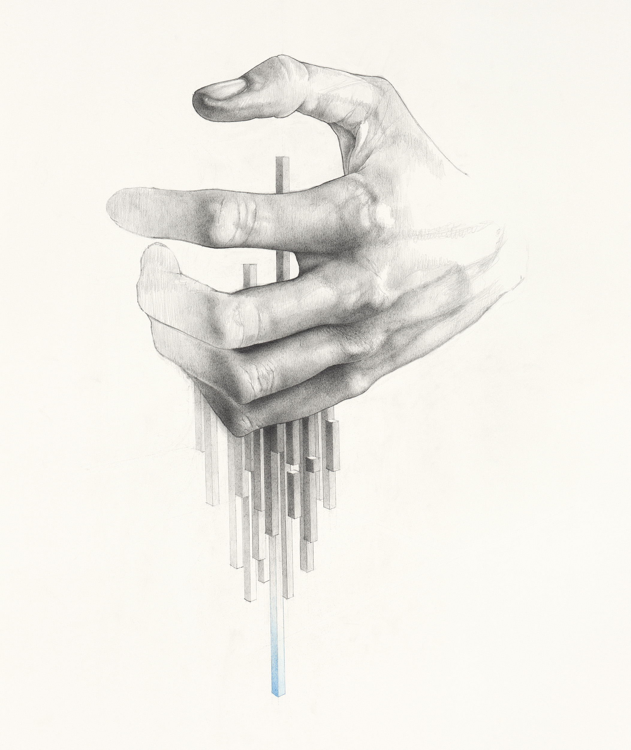 Workshop drawing hands with a pencil